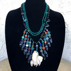 Vtg MOP Shell Bird Gemstone Tribal Ethnic Necklace